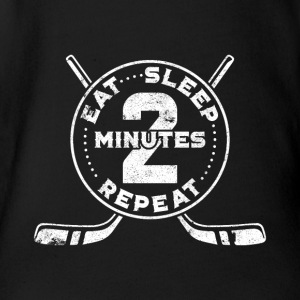 Eishockey Eat Sleep 2 Minutes Repeat Shirt - Baby Bio-Kurzarm-Body