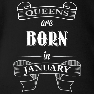 Queens are born in january - birthday January - Organic Short-sleeved Baby Bodysuit
