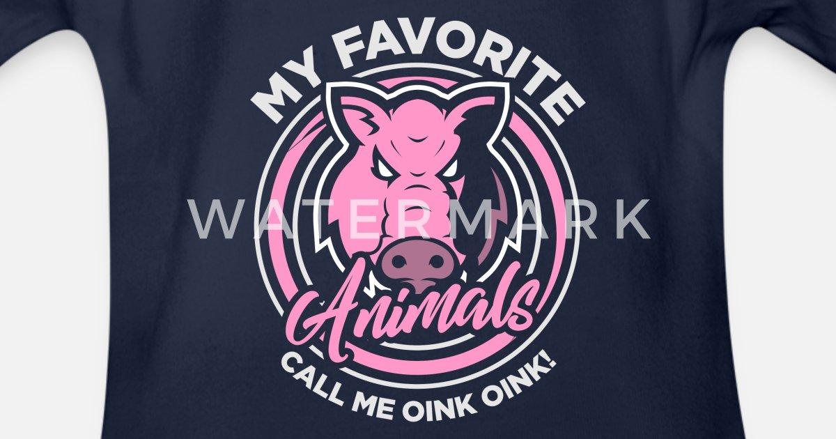 f1125cb75 Pig Animal Piggy Gift · favoritt dyr Økologisk kortermet babybody    Spreadshirt