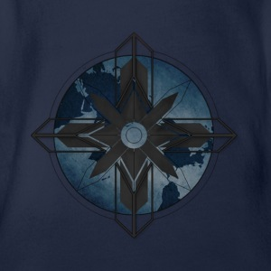 Map Compass - Blue - Organic Short-sleeved Baby Bodysuit