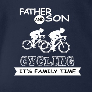 Father And Son - Cycling - Organic Short-sleeved Baby Bodysuit