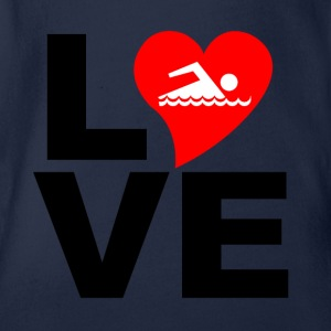 LOVE Swimming - Organic Short-sleeved Baby Bodysuit