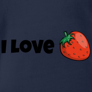 I love strawberries fruits fruit delicious gift - Organic Short-sleeved Baby Bodysuit