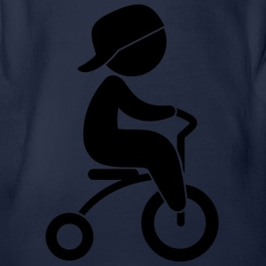 Boy Riding His Tricycle - Organic Short-sleeved Baby Bodysuit