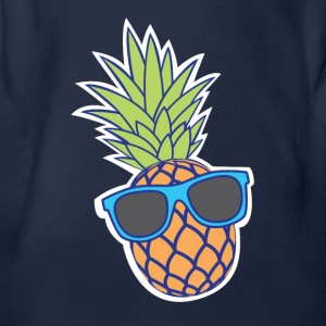 Pineapple with sunglasses - Organic Short-sleeved Baby Bodysuit