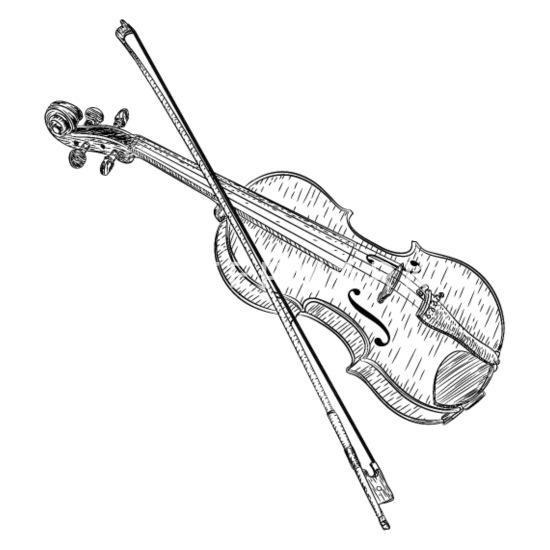 eenvoudige viool ontwerp kleurplatenl