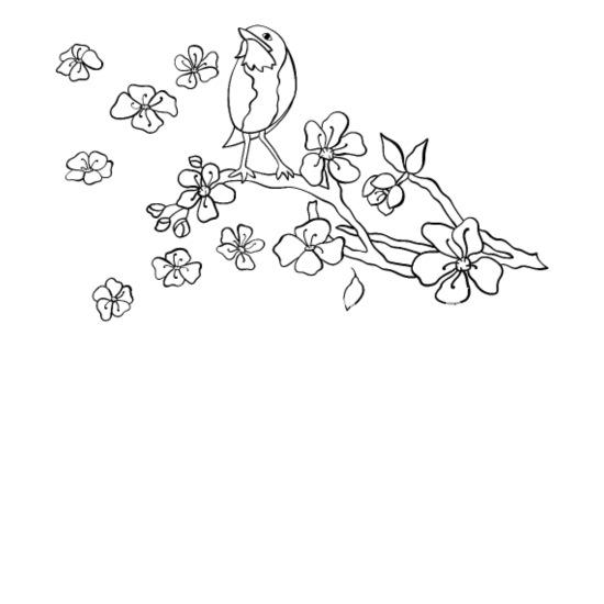 Branche De Fleur De Cerisier Avec Oiseau Noir Sac En Tissu Spreadshirt