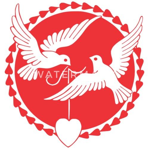 Tauben Heiraten Hochzeit Just Married Liebe Love Stoffbeutel