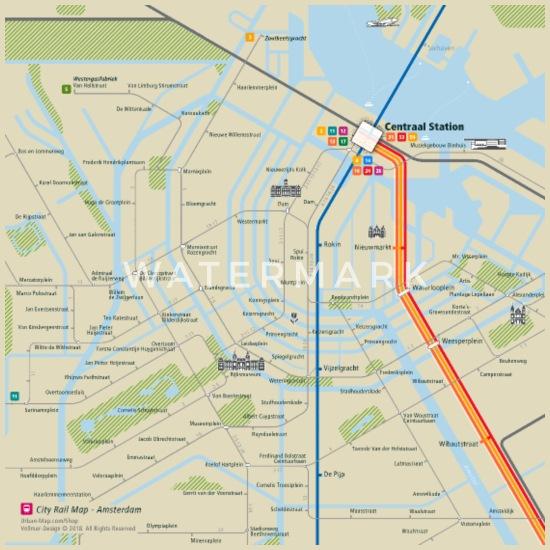 Amsterdam Map Square Stoffbeutel - Natur