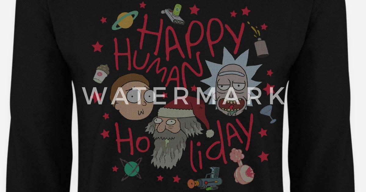 Rick And Morty Happy Human Holiday Jumper Mens Sweatshirt Spreadshirt