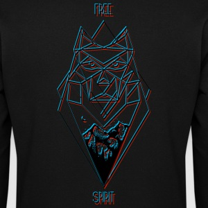 Free Spirit Wolf Design (black) - Men's Sweatshirt