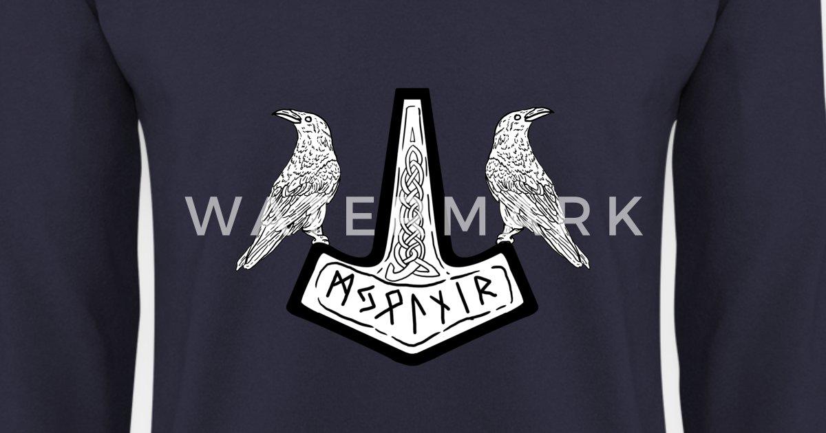 Hugin Munin Walhalla Germanen Wikinger Heiden Runen Symbole Langarmshirt