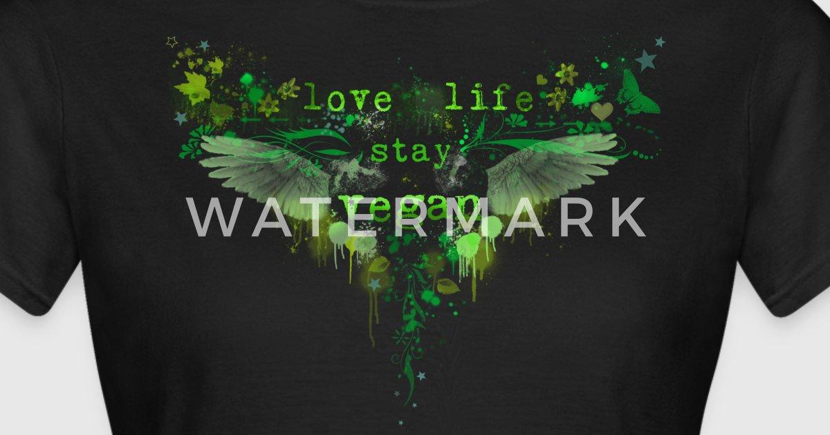 love life stay vegan green t shirt spreadshirt. Black Bedroom Furniture Sets. Home Design Ideas