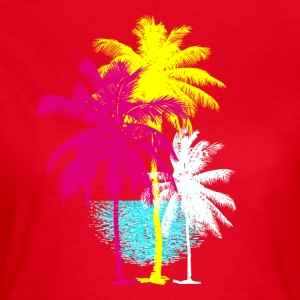 Palm trees Florida Miami Retro Caribbean sun Hawaii ur - Women's T-Shirt