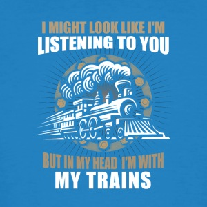 In my head im with my trains - Men's Organic T-shirt