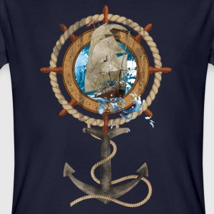 Roer met Sailing Ship and Anchor - Mannen Bio-T-shirt
