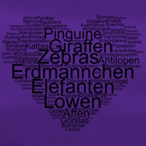 Tiere, Wordcloud in Herzform, I love - Sporttasche