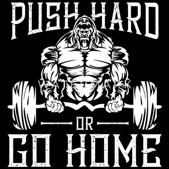 Gorilla Fitness Gym Motivation Spruch Bodybuilding Sporttasche Schwarz