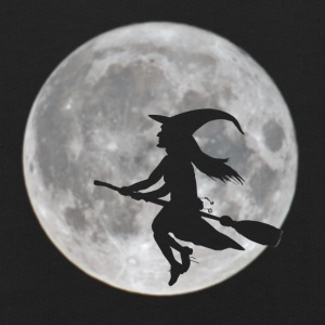 Flying witch in front of moon - Kids' Premium Hoodie