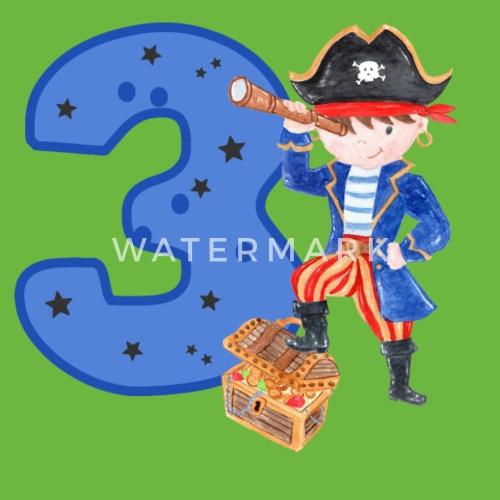 3 Jaar Verjaardag Kind Piraat Jongen Schattenjacht Kinderen Premium