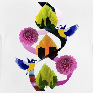 Blätter Floral Bird City - Baby T-Shirt