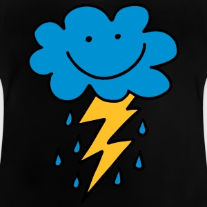 Funny cloud with flash, raindrops, comic, emoji - Baby T-Shirt