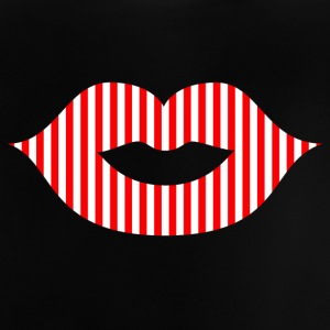 Lipstick / mouth / kiss mouth: red / white striped - Baby T-Shirt