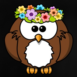 Hippie owl with flower wreath - Baby T-Shirt