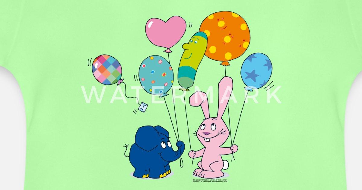 elefant und hase  luftballons baby tshirt  spreadshirt
