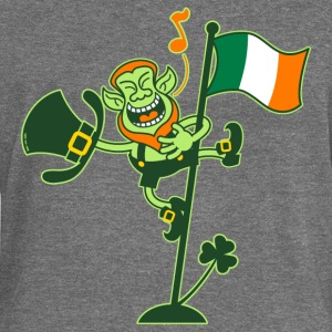 Leprechaun Singing on an Irish Flag Pole