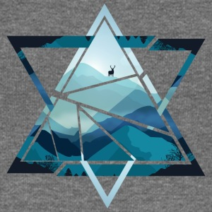 Triangle mountains with deer - Women's Boat Neck Long Sleeve Top