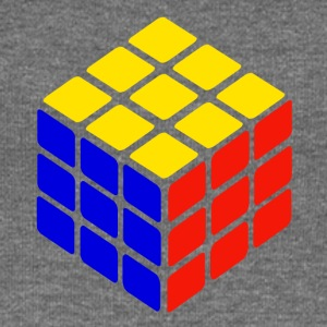 blue yellow red rubik's cube print - Women's Boat Neck Long Sleeve Top