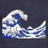 Hokusai the great Wave 8bits - Women's Boat Neck Long Sleeve Top
