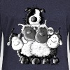 Border Collie and sheep - dog - t-shirt design - Women's Boat Neck Long Sleeve Top