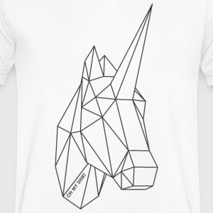 Origami Unicorn / Unicorn darkgrey - Men's Organic V-Neck T-Shirt by Stanley & Stella