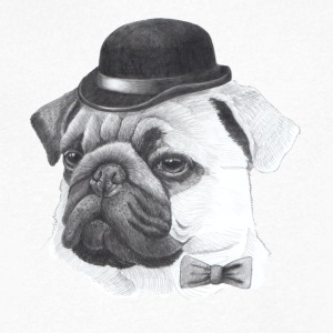Pug with bowler - Men's Organic V-Neck T-Shirt by Stanley & Stella
