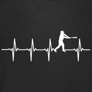 Baseball heart beat motif - Men's Organic V-Neck T-Shirt by Stanley & Stella
