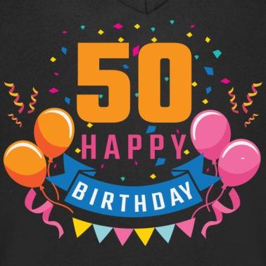 50 Oro Numero Feliz Cumpleanos Cumpleanos Camiseta Con Cuello