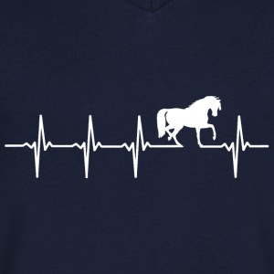 Chevaux - rythme cardiaque - T-shirt Homme col V