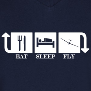 Eat Sleep Fly Repeat - Men's Organic V-Neck T-Shirt by Stanley & Stella