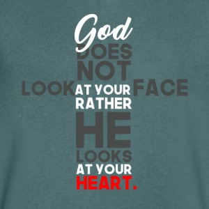 God Prefers Heart over Facebook - Men's Organic V-Neck T-Shirt by Stanley & Stella