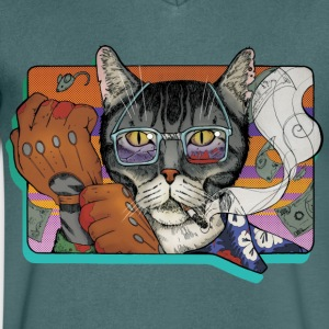 Crime Cat - Mannen T-shirt met V-hals