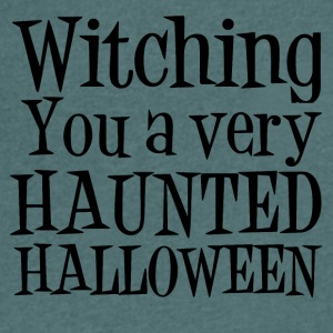 Witching dig en mycket HAUNTED HALLOWEEN - T-shirt med v-ringning herr