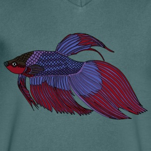 fishcoloured - Mannen T-shirt met V-hals