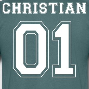 Christian 01 - White Edition - T-shirt med v-ringning herr