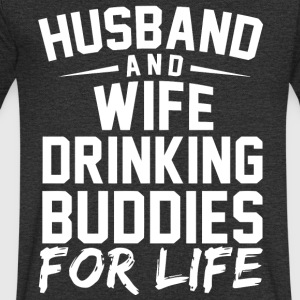 Husband and Wife drinking bubdies for life - Men's Organic V-Neck T-Shirt by Stanley & Stella