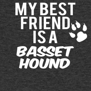 My friend is a basset hound - Men's Organic V-Neck T-Shirt by Stanley & Stella