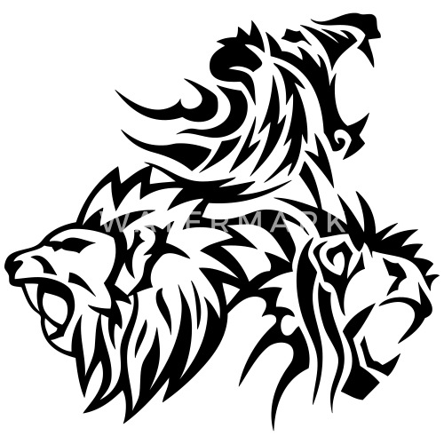 lion tribal tatouage dessin 14031 de c2b spreadshirt. Black Bedroom Furniture Sets. Home Design Ideas