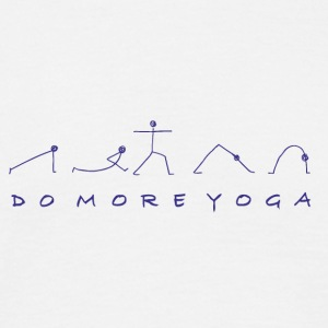 Asanas with Do More Yoga slogan in blue - Men's T-Shirt