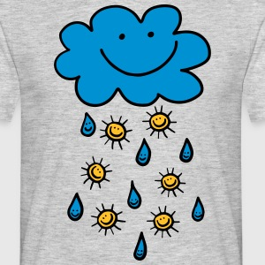 Rain cloud, raindrop, sun, summer, spring, weather - Men's T-Shirt